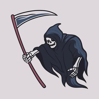 Desenho de camiseta vintage grim reaper entrega a ilustração do machado