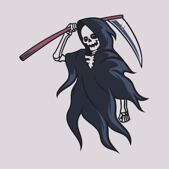 Desenho de camiseta vintage grim reaper walk levantou uma grande ilustração de machado