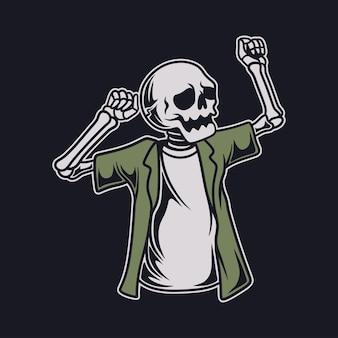 Desenho de camiseta vintage ilustração de crânio em pé