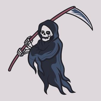 Desenho de camiseta vintage ilustração do ceifador andando