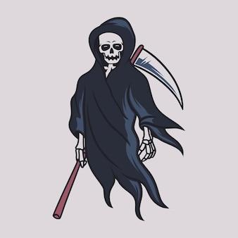 Desenho de camiseta vintage ilustração do grim reaper coll