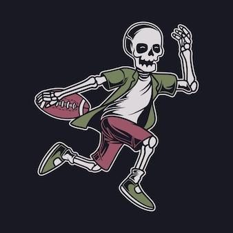 Desenho de camiseta vintage, vista lateral, crânio correndo com a bola ilustração de futebol