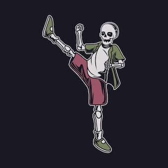 Desenho de camiseta vintage, vista lateral do crânio chutando com o pé direito ilustração de caratê