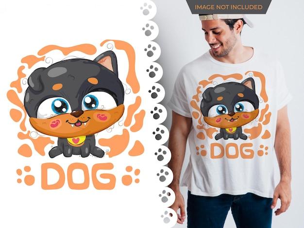 Desenho de cão bonito ideia perfeita para t-shirt