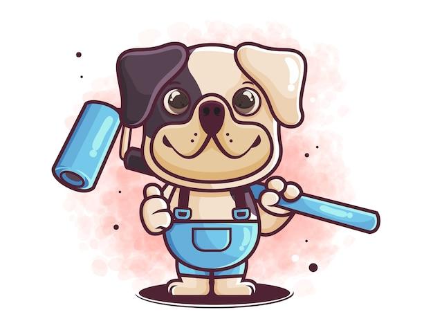 Desenho de cão fofo desenhado à mão com ferramenta de pintura