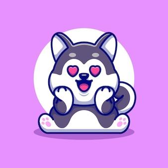 Desenho de cão husky fofo se apaixonando