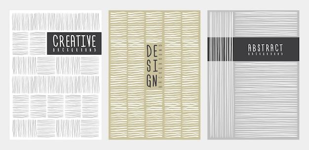 Desenho de capa de linhas listradas de mão. modelo para cartazes, folhetos, capas. ilustração vetorial.