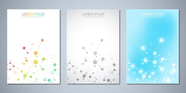 Desenho de capa, flyer, com moléculas e rede neural. conceito de ciência e tecnologia.