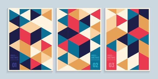 Desenho de capas geométricas abstratas com triângulos coloridos