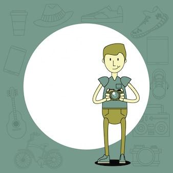 Desenho de cara legal hipster