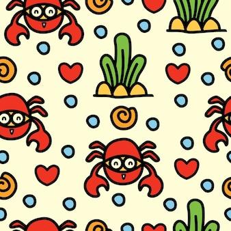 Desenho de caranguejo doodle padrão sem emenda