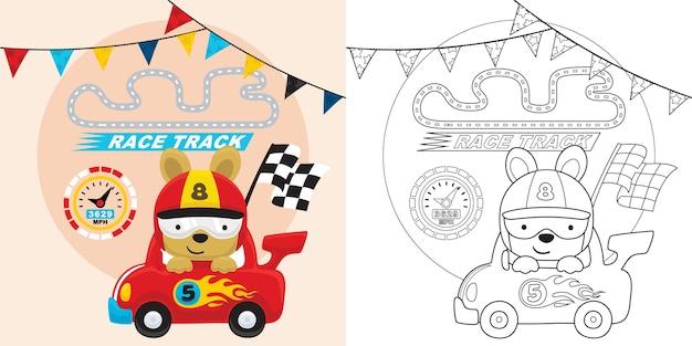 Desenho de carro de corrida com piloto engraçado carregando bandeira de acabamento