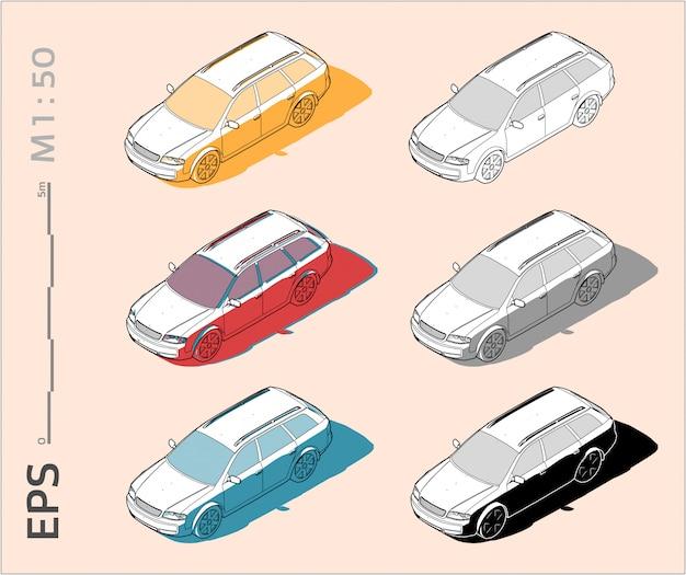 Desenho de carro de veículo definido em cores diferentes, vista lateral