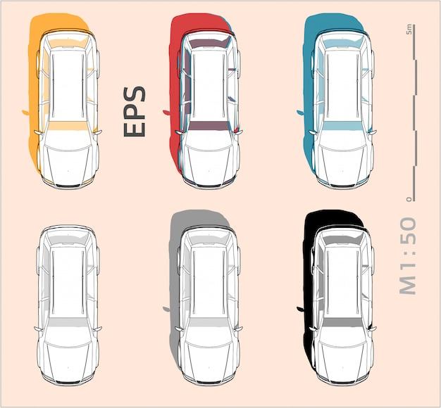 Desenho de carro de veículo definido em cores diferentes, vista superior