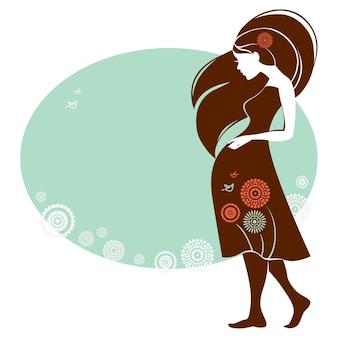 Desenho de cartão com silhueta de mulher grávida