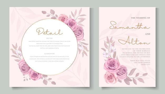 Desenho de cartão de casamento de flor rosa desabrochando desenhado à mão