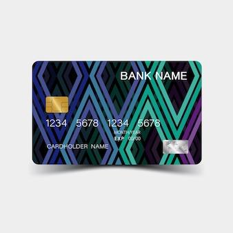 Desenho de cartão de crédito colorido e inspiração do abstrato no fundo branco