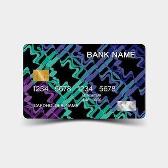 Desenho de cartão de crédito de cor e inspiração do abstrato no fundo branco