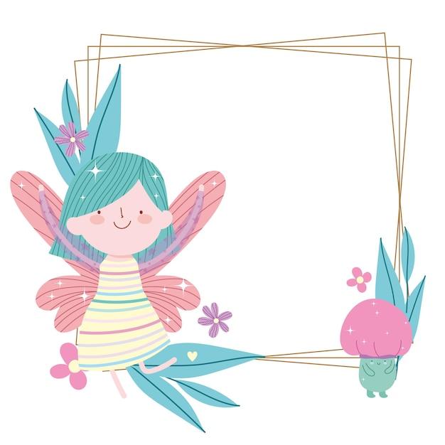 Desenho de cartão de fada fofo