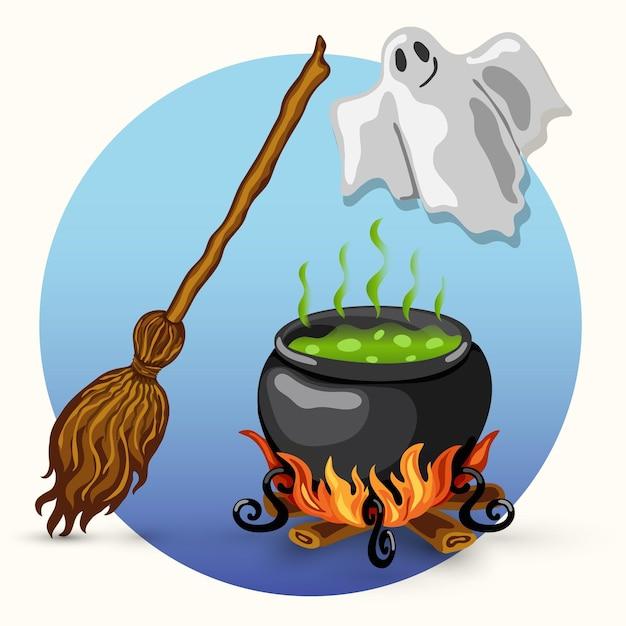Desenho de cartão de halloween de vetor de estilo de desenho animado com fantasma, vassoura, caldeirão de bruxa com veneno fervente e fogueira