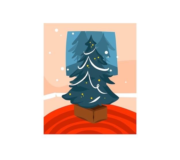 Desenho de cartão festivo de desenho animado de feliz natal e feliz ano novo com ilustrações fofas