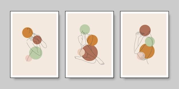 Desenho de cartaz com desenho de linhas de corpo feminino mínimo