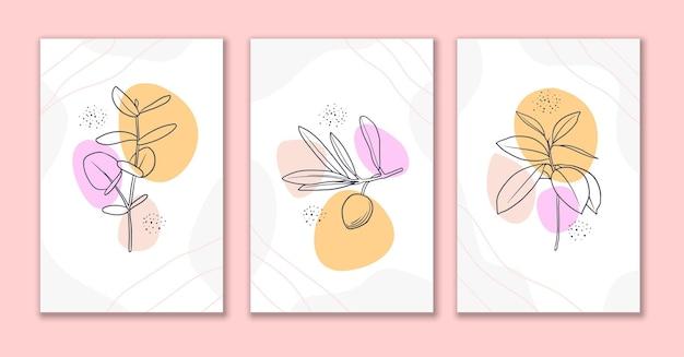 Desenho de cartaz de flores e folhas de arte de linha mínima b