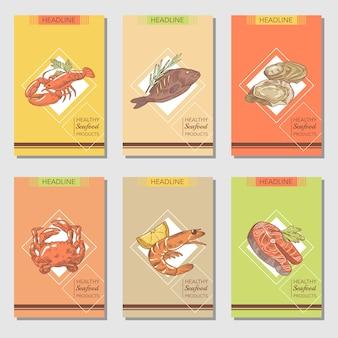 Desenho de cartões de frutos do mar desenhados à mão com peixe caranguejo