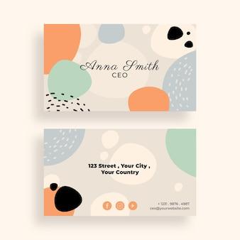 Desenho de cartões de visita de formas abstratas desenhadas à mão