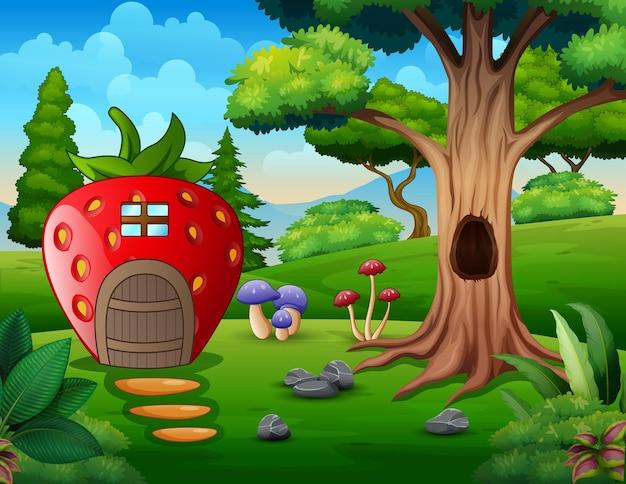 Desenho de casa de morango perto da árvore oca