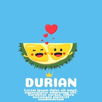 Desenho de casal bonito durian. fruta asiática.