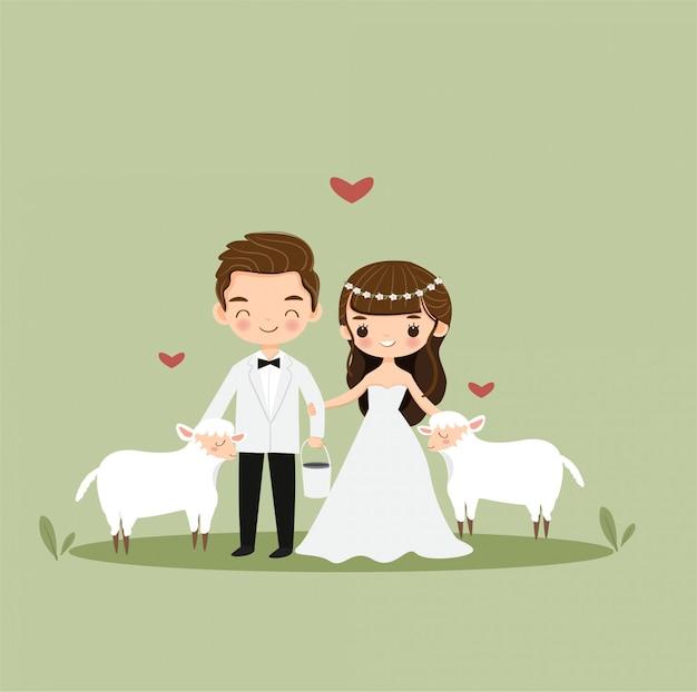 Desenho de casal bonito noiva e noivo com ovelhas