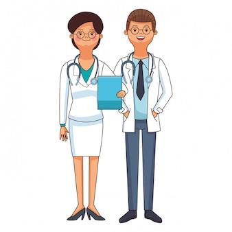 Desenho de casal de médico de medicina