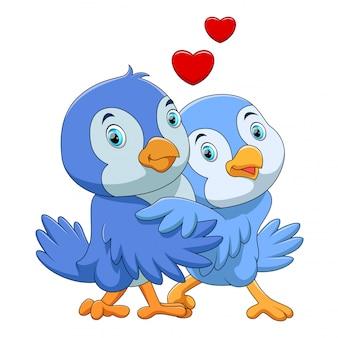 Desenho de casal de pássaros bonitos