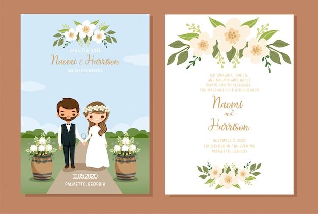 Desenho de casal fofo com modelo de cartão de convite de casamento rústico