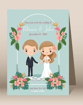 Desenho de casal fofo com modelo de convites de casamento tropical