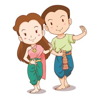 Desenho de casal fofo de dançarinos tradicionais tailandeses