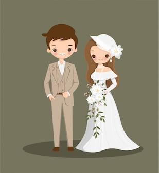 Desenho de casal fofo no vestido vintage para cartão de casamento inviation