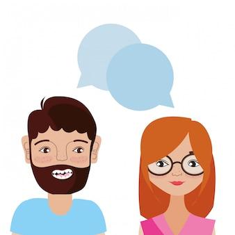 Desenho de casal jovem