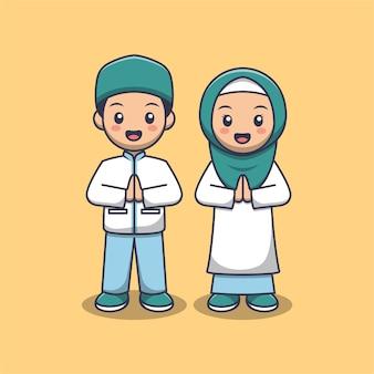 Desenho de casal muçulmano fofo