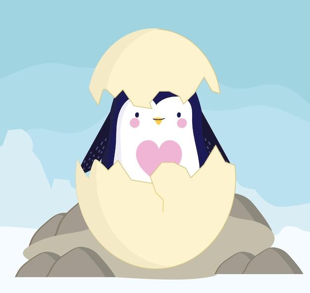 Desenho de casca de ovo rachada de pinguim