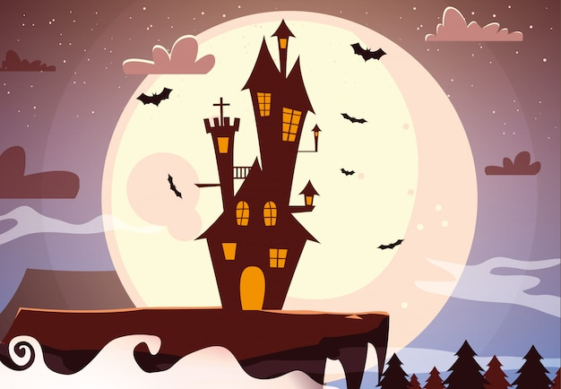 Desenho de castelo do dia das bruxas