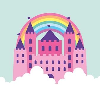 Desenho de castelo rosa com arco-íris entre nuvens. ilustração vetorial