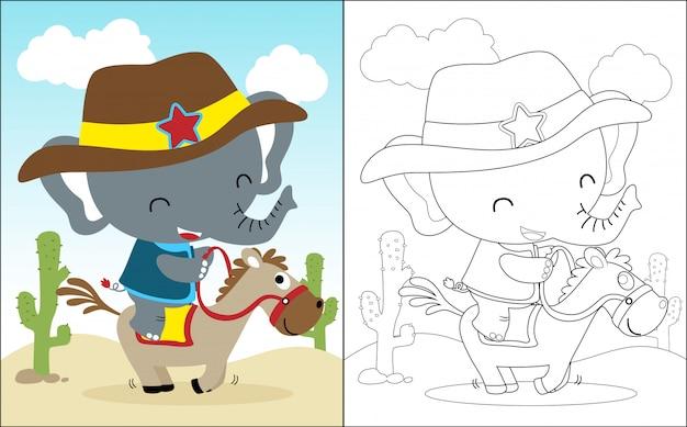 Desenho de cavalo de equitação com elefante engraçado