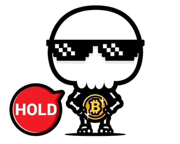 Desenho de caveira legal abraçando bitcoin