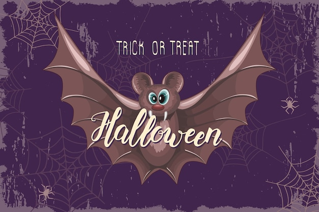 Desenho de celebração de halloween com desenho de morcego