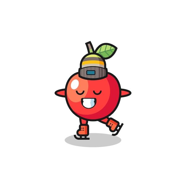 Desenho de cereja como um jogador de patinação no gelo fazendo performance, design de estilo fofo para camiseta, adesivo, elemento de logotipo