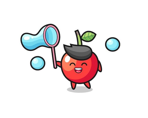 Desenho de cereja feliz jogando bolha de sabão, design de estilo fofo para camiseta, adesivo, elemento de logotipo