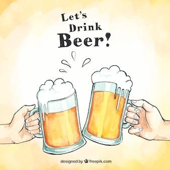 Desenho de cerveja desenhado à mão