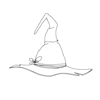 Desenho de chapéu de bruxa. chapéu pontudo de halloween. ilustração vetorial no estilo de desenho
